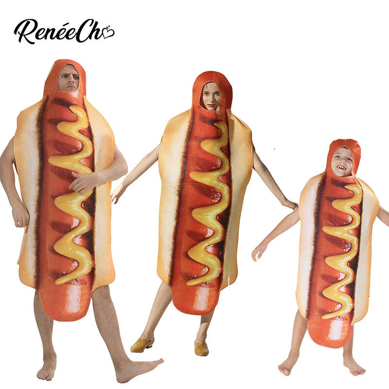 Halloween Costume For Women Family Hot Dog Costume Purim Costume Men Holiday Cosplay Carnival Hotdog Cosplay For Couple