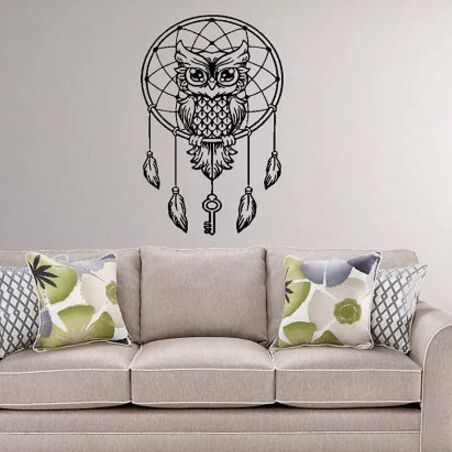 owl wall decal dream catcher vinyl sticker home bedroom decoration