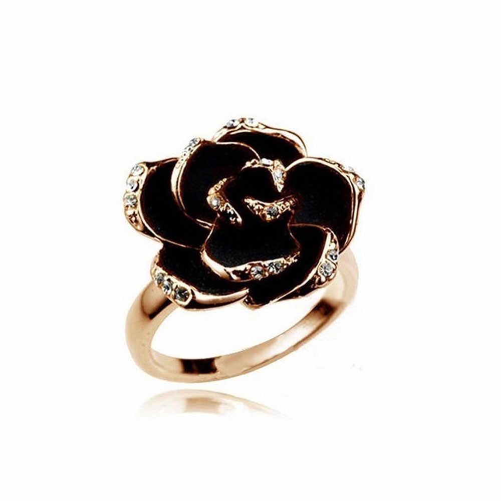 Phụ Nữ xinh đẹp Nhẫn Trang Sức Phụ Nữ Rose Flower Ngón Tay Mở vòng Đồ Trang Sức Fancinating Anillos Tuyệt Vời Nhẫn Đối Với Phụ Nữ Anel