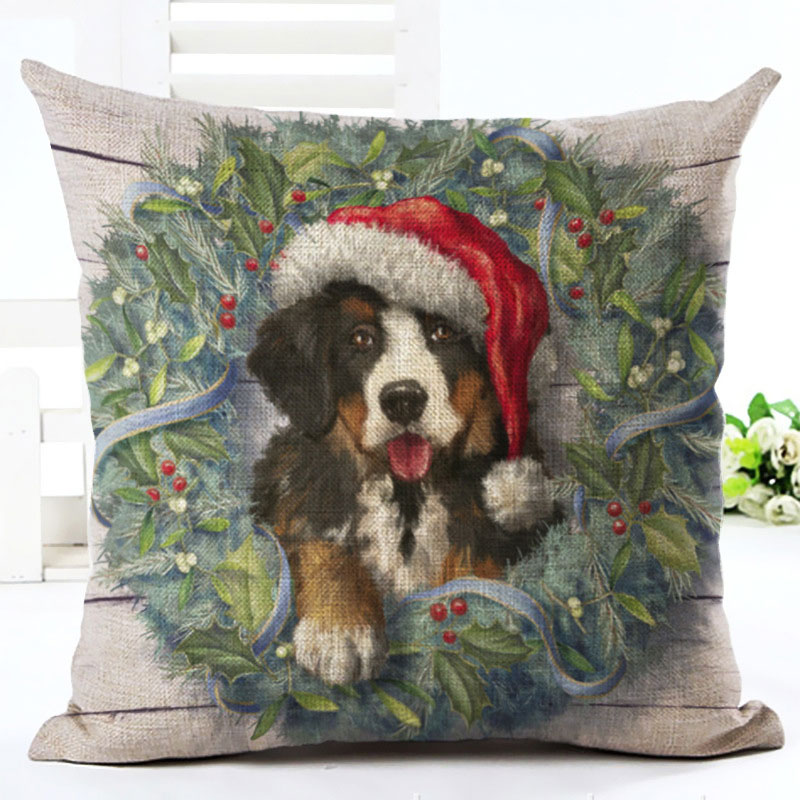 2019 New Year Cartoon Pattern Cat and Dog 45x45cm Pillowcase Merry Christmas Decorations for Home Santa Clause Linen Cover Natal (3)