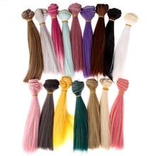 Розовый коричневый хаки парик волосы черные длинные прямые волосы Цвет 15 см DIY кукла белый серый высокая температура провода