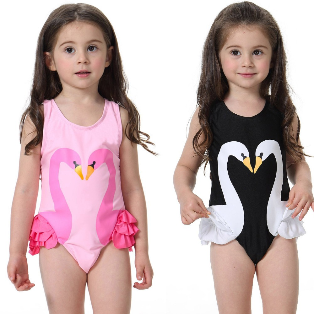 Kids Baby Girl Swim wear dress 2017 Swan Flamingo Printed Swimsuits One Piece Children Summer Swimming Sunsuit girls beach dress one piece swimsuit children s swimwear girl children baby swim wear kids cute swimsuits 2017 new buoyancy life biquini infantil