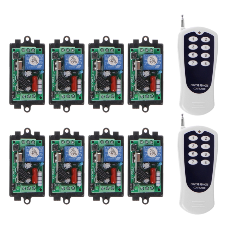 220V 10A 1CH RF Wireless Remote Control Learn Code 8 Receivers With 2 Transmitters Set