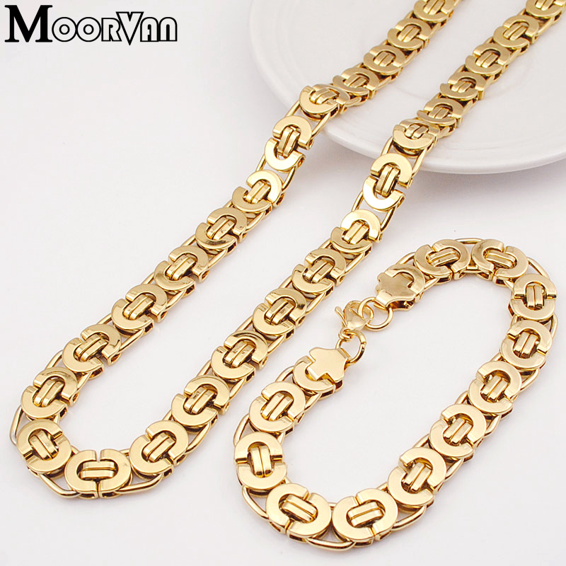 Moorvan Stainless Steel Men Jewelry Set Fashion Egypt Byzantine Bracelet Necklace Sets 11mm Width jewellery for Women's Man's
