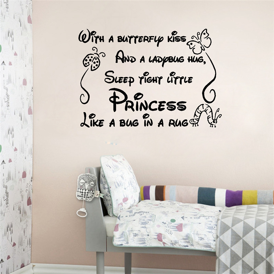 With a butterfly kiss wall stickers for kids rooms girl removable with a butterfly kiss wall stickers for kids rooms girl removable art vinyl nursery decor baby girlprincess wall stickers q0205 in wall stickers from home amipublicfo Images