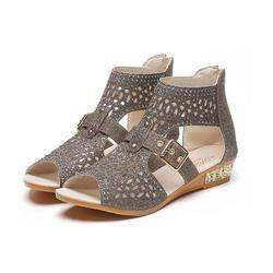 2018 Летняя женская обувь с открытым носком, сандалии на полой подошве, женская обувь на молнии со стразами в римском стиле, повседневная
