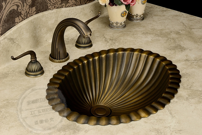 Vintage Art Full copper elliptic bronze wash basin bathroom sink