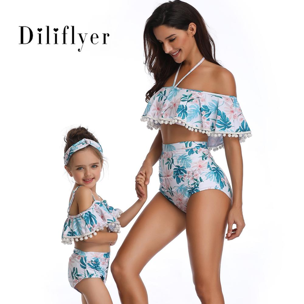 Women's <font><b>Sexy</b></font> <font><b>Off</b></font> Shoulder Vintage Floral Backless Bather Flounce Ruffled <font><b>Set</b></font> Strappy Push Up Bathing Suit Swimsuit image