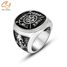 Fashion International Leading Do Old Process Cool Style Men's Titanium Stainless Steel Pirate Skull Signet Ring 2016
