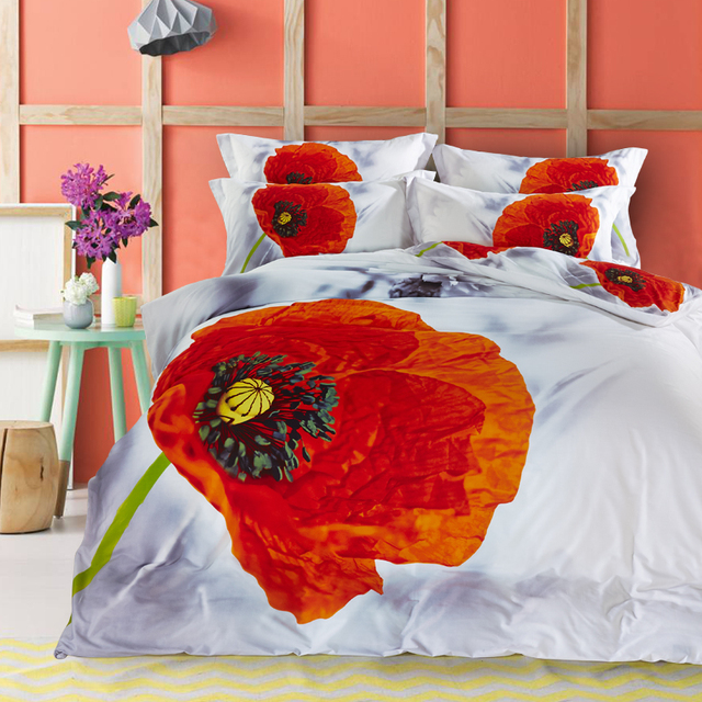 Fl Print Red Poppy And Grey Daisy Designer Bedding Set Pure Cotton Textile Bedlinen Pillowcase
