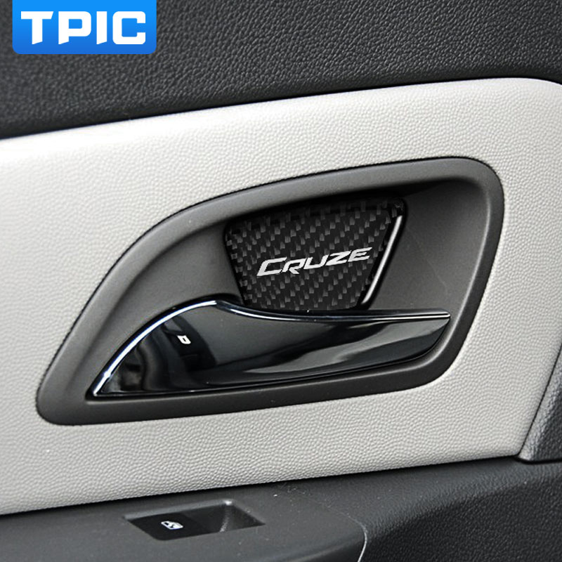 Carbon Fiber Interior Door Bowl Decorative Cover Trim Decals Strips For Chevrolet Cruze 2009-2015 car styling