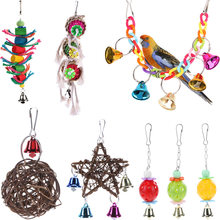 Cockatiel Parrot Toys Wooden Steel Hanging Bell Cage Toys for Parrots Bird Squirrel Funny Chain Swing Toy Pet Bird Supplies(China)