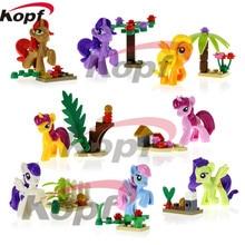Building Blocks Cute Cartoon Girl My Little Horse Anna Elsa Dolls Super Heroes Bricks Action Figures Toys Children Gift SY682
