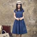 O envio gratuito de 2017 dot novas mulheres moda linho curto-luva joelho de comprimento dress vintage solto plus size xxxl verão bandage dress