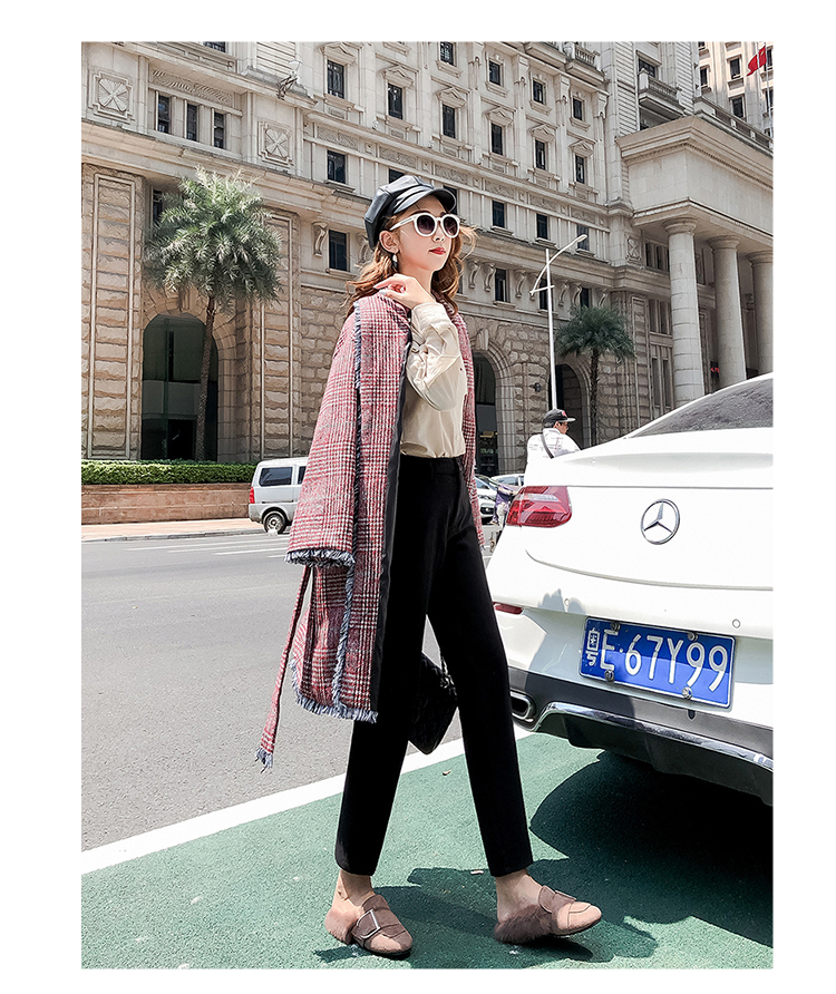 19 Autumn New Women Elastic Woolen Pant Female Plus Size Casual Trousers Black/Gray Harem Pants Winter Wool Ankle-Length Pants 38