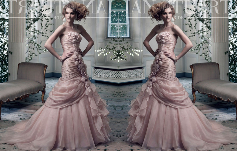 Strapless Mermaid Wedding Gown: Romantic Pink Organza Wedding Dress 2017 Vestidos De Novia