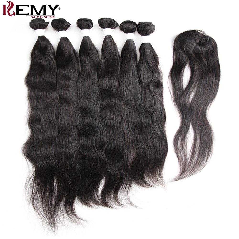 Natural Wave Human Hair Bundles With Closure 6 PCS Brazilian Remy hair Weave Bundles Natural Color Hair Extension KEMY HAIR