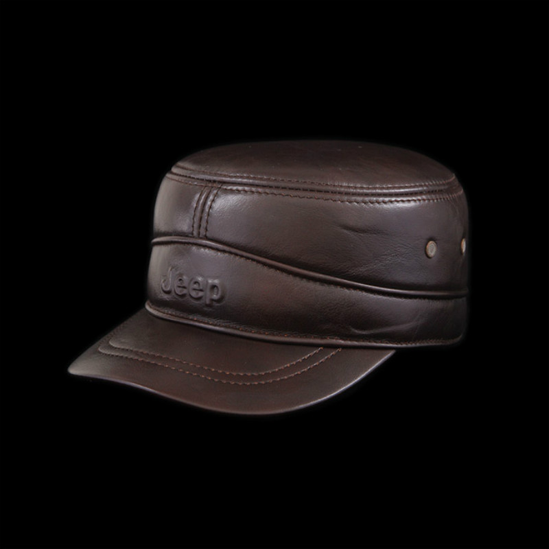 Men's Sheepskin Baseball Hats Male Flat-topped Genuine Leather Hat Men's Latticed <font><b>Middleaged</b></font> Warm Baseball Hat Adjustable B-0566 image