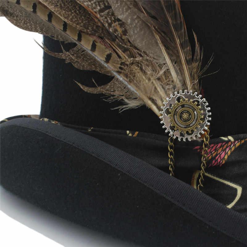 4dcdfac8b4 13.5 Top Hat Women Me Steampunk Mad Hatter Top Hat / Handmade Leather Wool  Fedoras Hat / Cylinder Hat/ Chimne Cap 4 Size