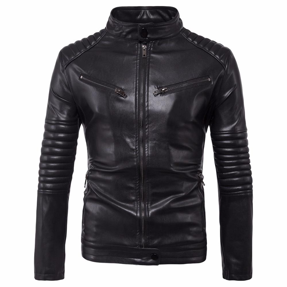 Hommes vestes en cuir cuir homme vestes manteaux automne hiver homme classique moto motard Bomber vestes hauts Outwear noir