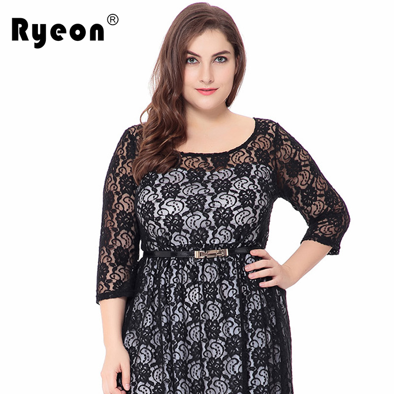 Ryeon Lace Dresses Big Size Party Black Sexy Tunic Vintage Loose Plus Size  Women Dress O Neck Large Size Female Clothing 6xl 5xl-in Dresses from  Women s ... 7a0c22efee69
