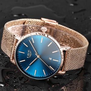 Image 4 - 2019 Womens Watch LIGE Top Brand Luxury Women Fashion Casual All Steel Ultra Thin Mesh Belt Quartz Clock Relogio Feminino+Box