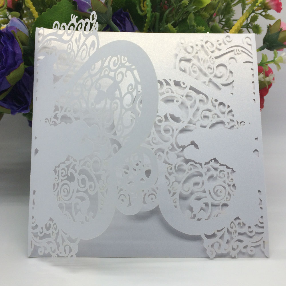 20pcs Iridescent Pearl Paper Wedding Invitation Card Laser Cut Wedding Card Heart Pattern Hollow Out Carved Card Wedding Party