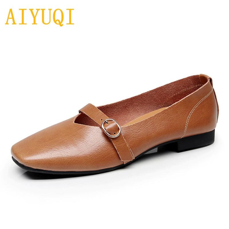 5733d018f AIYUQI Mulheres sapatos baixos 2019 primavera novas mulheres de couro  genuíno sapatos casuais, 35-
