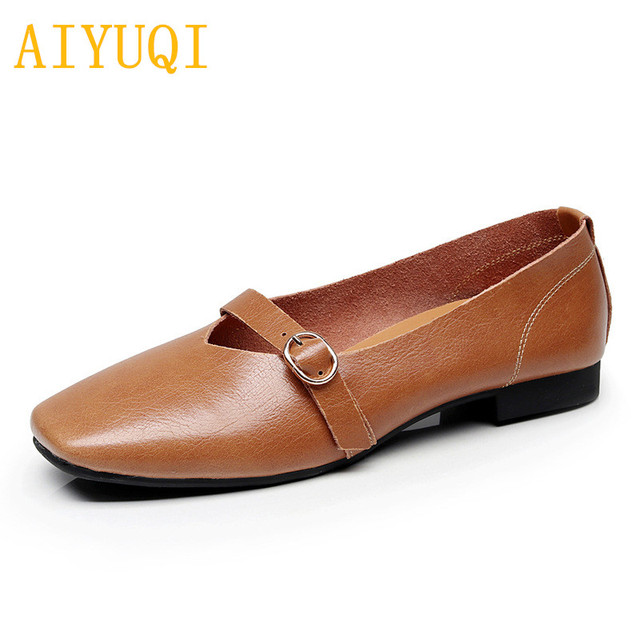 AIYUQI kadın düz ayakkabı 2020 bahar yeni hakiki deri kadın rahat ayakkabılar büyük boy 35 43 rahat anne ayakkabısı kadın