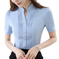 Ladies Office Short Sleeve Oxford Shirt V Neck Slim Pleated Front Button Down Classic Elegant Women