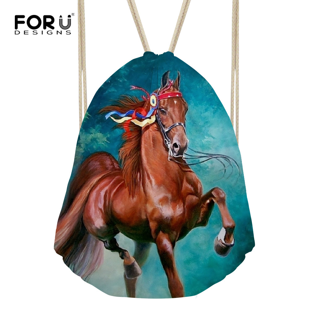 FORUDESIGNS Cool Crazy Horse Drawstring Backpack Mimi College Boys Girls 3d Animal Travel Bagpack Lightweight Women Rucksack