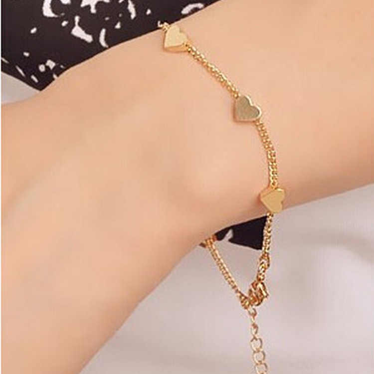 1 Pcs Sell Heart Stars Charm Bracelets Trendy Gold Silver Color New Geometric Adjustable Bangles For Women Fashion Jewelry Gift