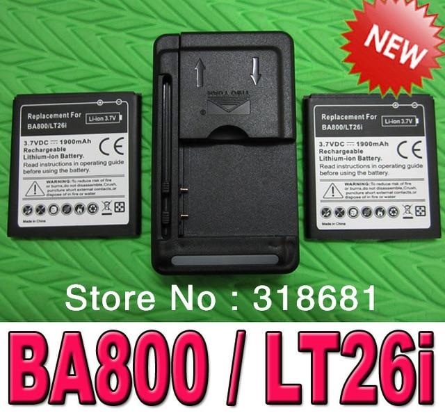 New 2 x 1900mAh BA800 Battery+Multi-function USB Charger For Sony Xperia S LT26i Xperia V LT25i Ericsson Xperia Arc HD Nozomi