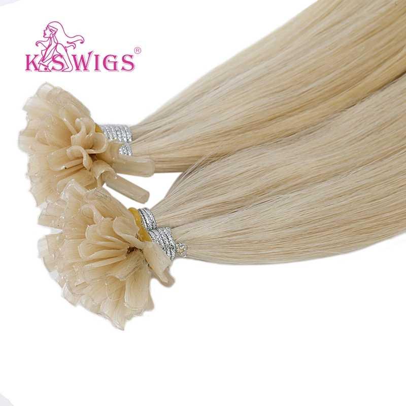 K.S peruki Remy kapsułki do paznokci U Tip doczepy z ludzkich włosów keratyny Pre bonded podwójne wyciągnąć prosto włosów Fusion 16 ''20'' 24 ''28''