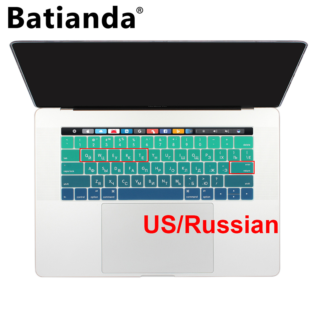 Russian Layout Keyboard Cover for MacBook Pro 13 15 with Touch Bar Silicone Skin for New Macbook 2016 A1706 & A1707 - US Enter russian layout keyboard cover for macbook pro 13 15 with touch bar silicone skin for new macbook 2016 a1706