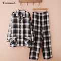 Pajamas Men Autumn Double Layer Yarn Pyjamas 100% Cotton Pajamas Plaid Long-Sleeve Pajama Set Sleep Casual Pyjamas Men Lounge
