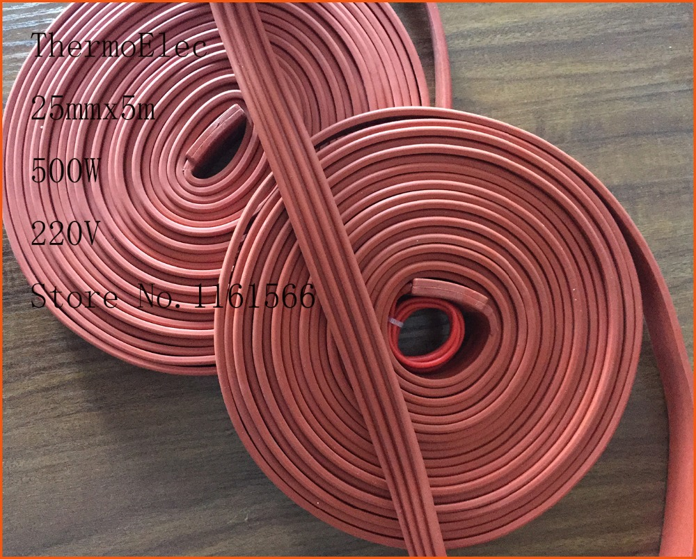 25mmx5m 500W 220V flexible High quality flexible Silicone Heating belt heat tracing belt Silicone Rubber Pipe Heater waterproof 15mm 4200mm 200w 220v silicone pipe heater tube heating tape heating belt silicone flexible heating band heaters pipe heat