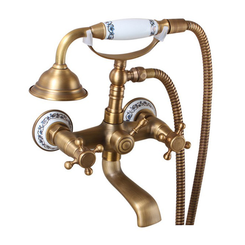 Antique Bronze Finish Shower Set Wall Mounted Bathroom Copper Bathtub Faucet For Hot And Cold Water Telephone Style Mixer Tap new shower faucet set bathroom faucet chrome finish mixer tap w abs handheld shower wall mounted