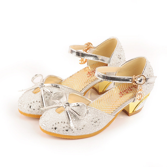746ccd8561f US $21.8 |Kids Girls Glitter Princess Shoes Pink High Heels Sandals Model  Dance Show Weddings Children Fashion Rhinestone Leather Party-in Leather ...