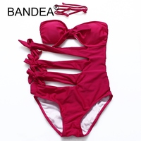 BANDEA Bikini 2017 New Swimsuit High Waist Swimwear Women Sexy Bikinis Wire Free Solid Popular Lady