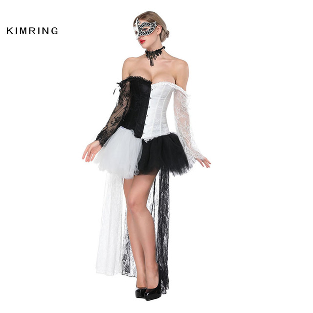 589489cf55 Kimring Sexy Women Victorian Gothic Overbust Corset Dress Vintage Waist  Trainer Top Lace Steampunk Gothic Corsets and Bustiers