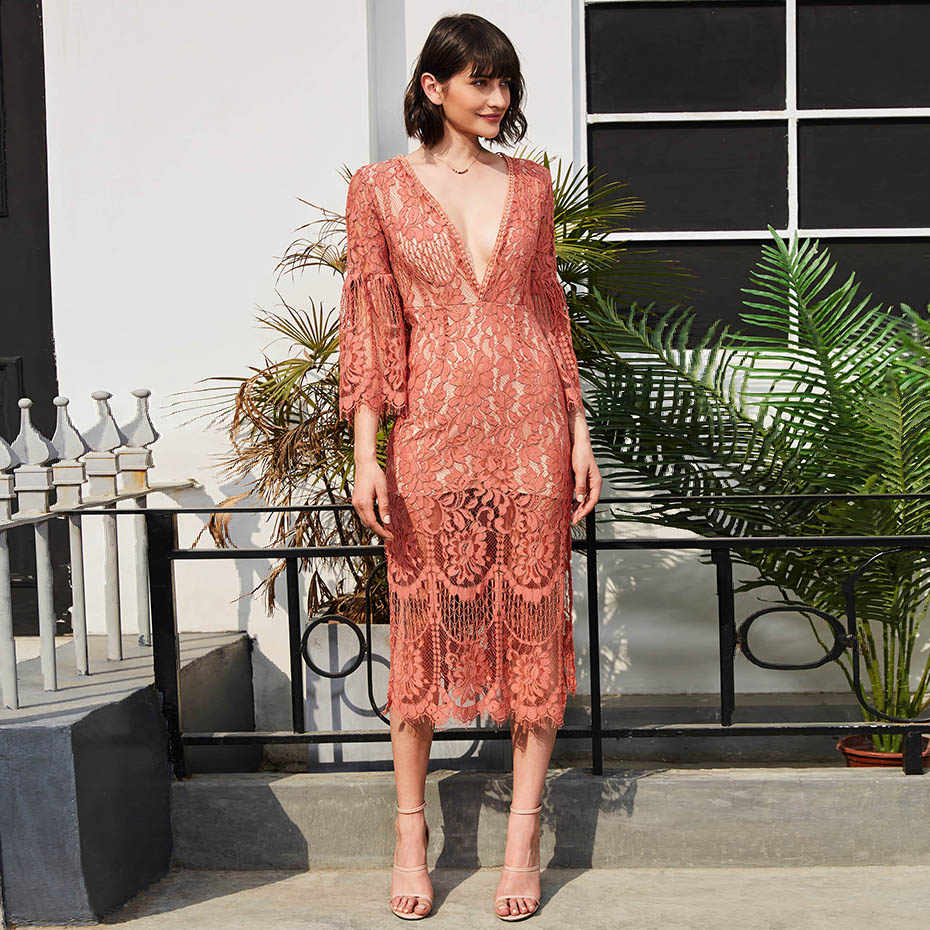 lace dress women fashion V neck hollow patchwork long dress flare sleeve  loose pink mid- 41d3bdd72