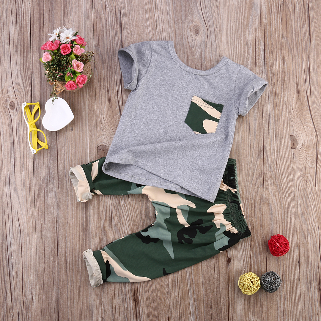 2017 children fashion summer baby boys girls clothing sets bow 2pcs camouflage sport suit clothes sets boys girls summer set