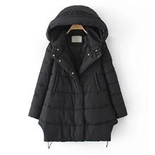 Winter  Women's  Leisure loose coat  side zipper hooded fur collar and long sections coat warm jacket for women
