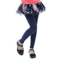 2016 spring autumn girls leggings lace floral printed big kids skirt leggings slim pants children's long trousers for 3T-13T