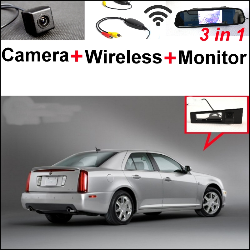 3 in1 Special  View Camera + Wireless Receiver + Mirror Monitor EASY DIY Backup Parking System For Cadillac STS 2007~2013 wireless pager system 433 92mhz wireless restaurant table buzzer with monitor and watch receiver 3 display 42 call button