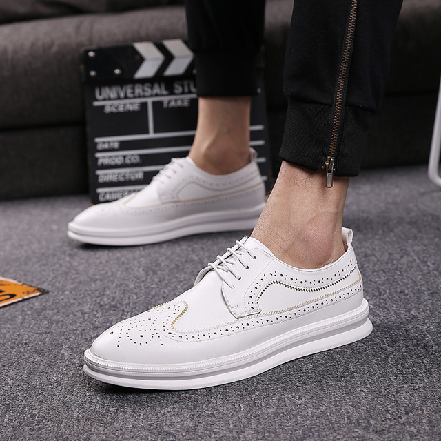 new arrival mens casual business office formal dress carved brogue sneakers black white platform bullock shoe zapatos hombre man