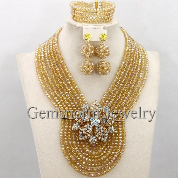 Fashion Champagne Gold Indian Wedding Beads Jewelry Set Bridal