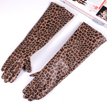 New Womens Ladies Real Leather Leopard Print Punk long gloves Evening Gloves Customized