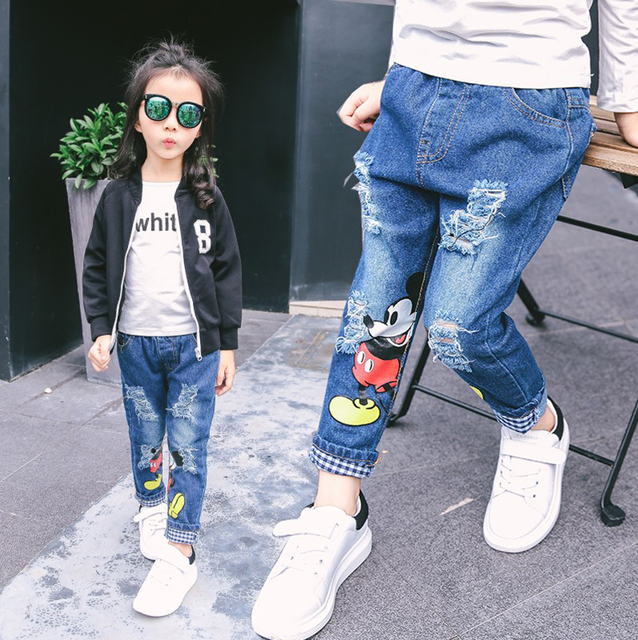 2016 New design Jeans for Girl Children Girl for Jeans Broken Holes Styles Pants Trousers Baby Girl for Jeans Cool Denim Pants